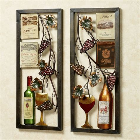 Cheap Wine And Grapes Kitchen Decor by Valley Vineyard Metal Wall Art Set