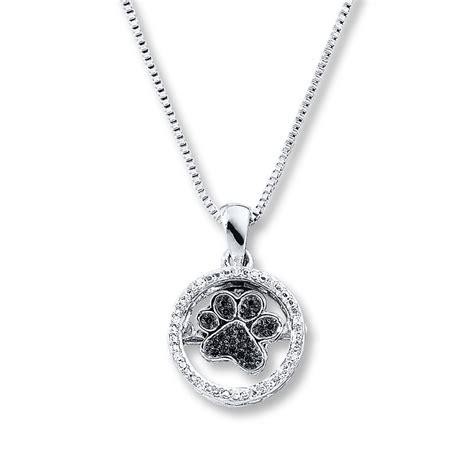 diamonds  rhythm paw print necklace sterling silver