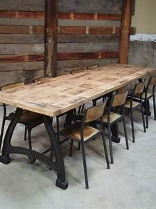 Table A Manger Industrielle : tres grande table industrielle plateau chene massif 3 ~ Melissatoandfro.com Idées de Décoration