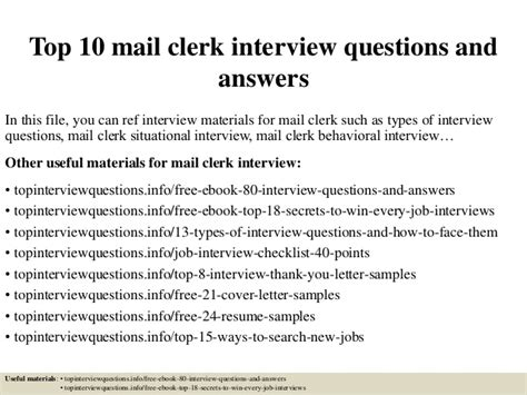 Living Room Candidate Analysis Answers by Top 10 Mail Clerk Questions And Answers