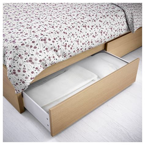 malm bed frame high w 4 storage boxes white stained oak veneer leirsund 180x200 cm ikea