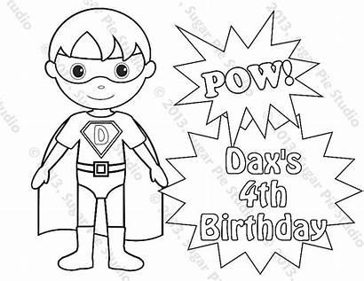 Superhero Printable Boy Coloring Birthday Superheroes Colorear