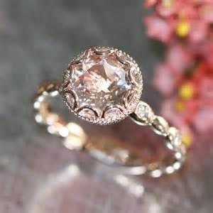 gold morganite engagement rings floral morganite engagement ring in 14k gold pebble band 8mm pinkish