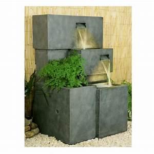 Fontaine A Eau Exterieur : fontaine d 39 ext rieur cascade jardini re avec lumi res ~ Dailycaller-alerts.com Idées de Décoration