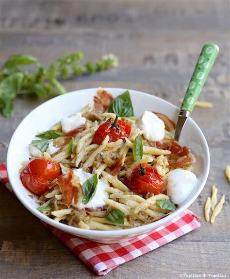 cuisine moutarde trofie au pesto d 39 aubergines burrata tomates cerise et
