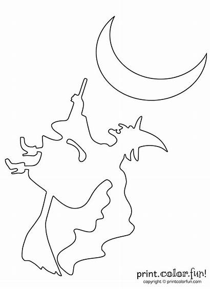 Witch Flying Broomstick Halloween Coloring Pages Printcolorfun
