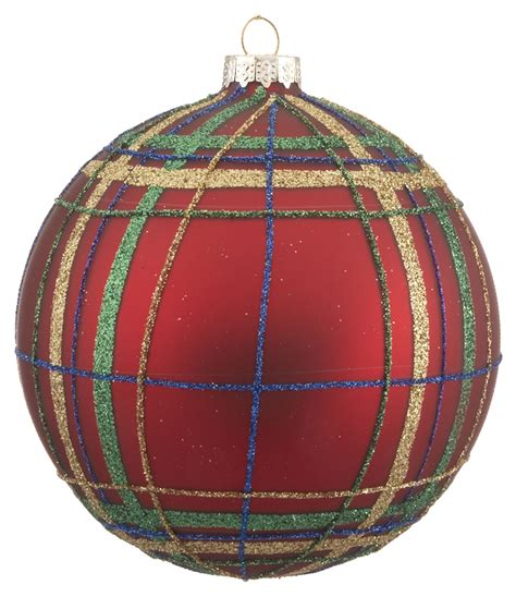 red and green plaid ball christmas ornament traditional