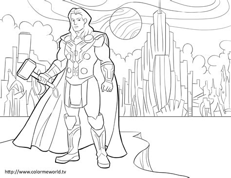 thor pdf printable coloring page avengers coloring