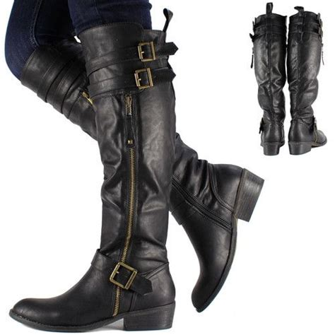 ladies black motorcycle boots womens black knee high leather biker riding boots shoes