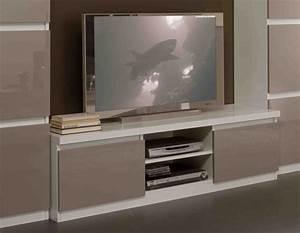 Meuble Blanc Laqué Tv : meuble tv plasma roma laque bicolore blanc gris blanc gris ~ Teatrodelosmanantiales.com Idées de Décoration