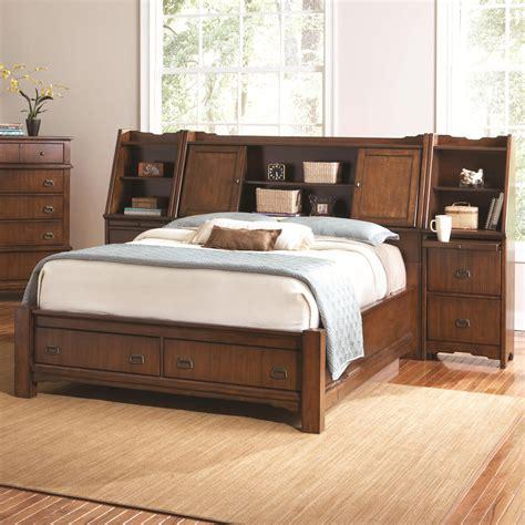 grendel eastern king bookcase bed  footboard storage