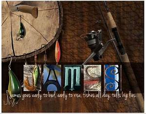 personalized quotfishing luresquot 13 x 16 framed hd letter art With personalized letter art fishing