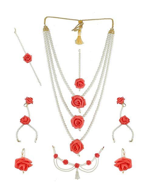 buy rose flower jewelry styled  studded stones pearl