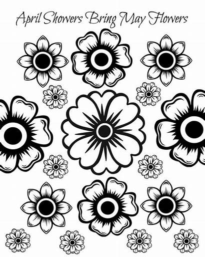Coloring Flowers Adult Printable Pages April Showers