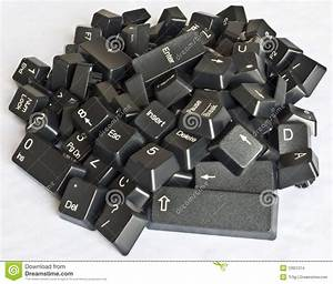Stack Of Black Computer Keyboard Keys Stock Photo