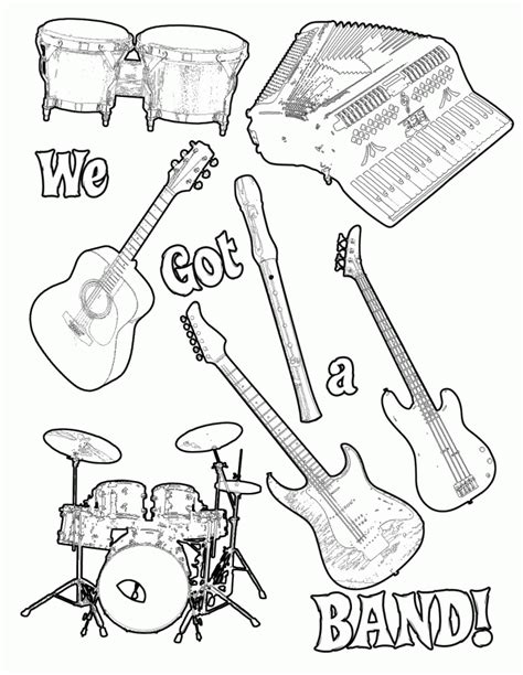 musical instrument coloring pages print  coloring home