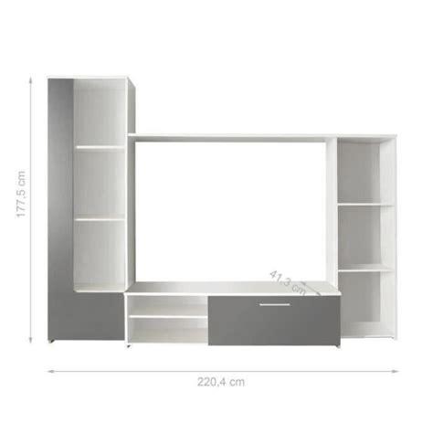 desserte bureau finlandek meuble tv mural pilvi 220cm blanc et gris
