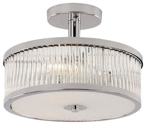 three light polished chrome drum shade semi flush mount