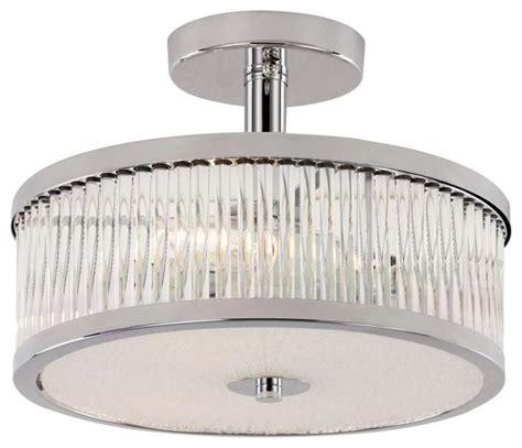 three light polished chrome drum shade semi flush mount