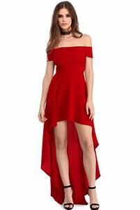wholesale red high low hem off shoulder party dress With robe de cocktail mauve