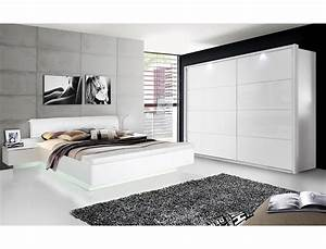 Schlafzimmer Weiß Hochglanz : schlafzimmer sophie 20a wei hochglanz doppelbett 2x nako schrank led wohnbereiche schlafzimmer ~ Frokenaadalensverden.com Haus und Dekorationen