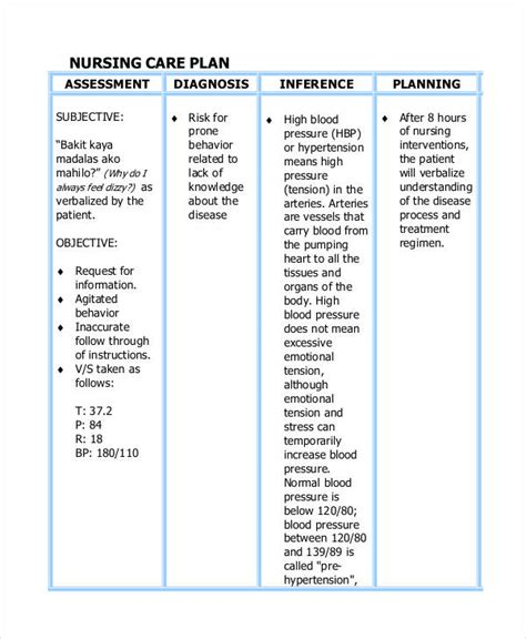 nursing care plan template word care plan templates 13 free word pdf format free premium templates