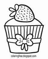 Coloring Cupcake Easy Teens Drawing Printable Strawberry Strawberries Cake Lemon Draw Muffin Cup Baking Zest Topping Vanilla Along Sugar Heavy sketch template