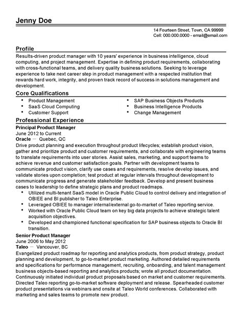 Bi Reporting Manager Resume by Professional Principal Product Manager Templates To Showcase Your Talent Myperfectresume
