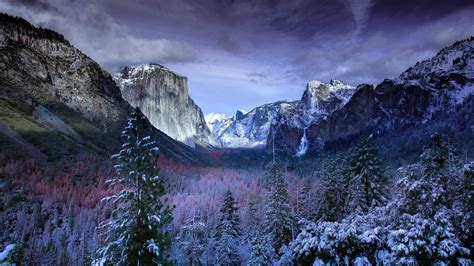 Mountains Under Black Cloudy Sky In Yosemite Forest 4k Hd