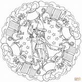 Coloring Mandala Halloween Witch Pages Cute Potion Pot Printable Drawing sketch template
