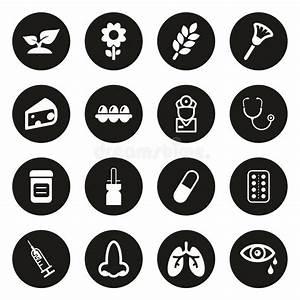Spring Circle Medicine Icons Stock Vector