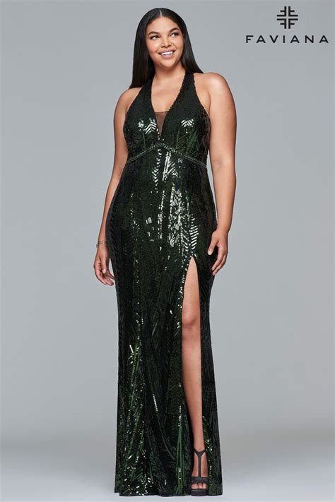 faviana curve   size sequin prom dress french novelty