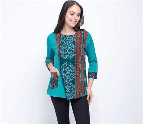 model baju batik kombinasi dress gamis polos atasan