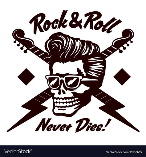 Rock And Roll Images Rock N Roll Skull With Rockabilly Hairstyle Vector Image