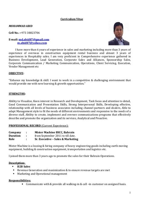A Sle Of Cv by Cv Sr Executive Sales Marketing