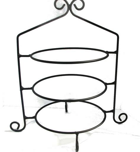 hand wrought black rod iron pie plate holder rack  tier stand usa  cupcakes ebay