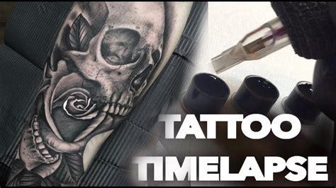 tattoo timelapse skull  rose chrissy lee youtube