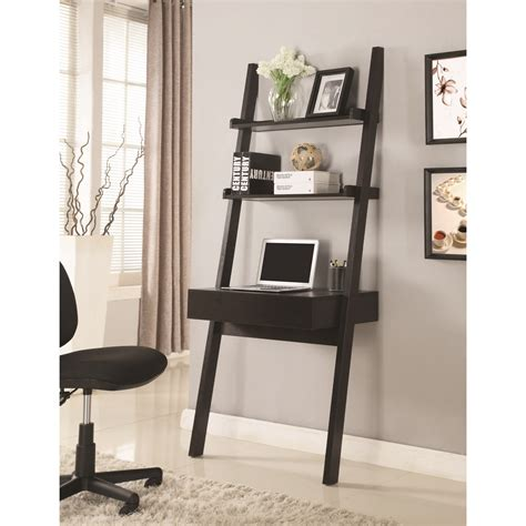 Coaster Wallleaning Writing Ladder Desk  Value City. Secretary Desk Chair. Built In Kitchen Table. Loft Beds For Kids With Desk. Tall Desk Chair. High Dining Room Table. Custom Desk. White Full Bed With Drawers. Rotary Desk Organizer