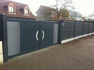 portail avec portillon integre top porte de garage avec With porte de garage et barriere pvc