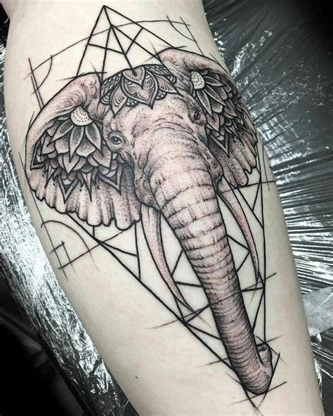 geometric elephant tattoo ideas  pinterest