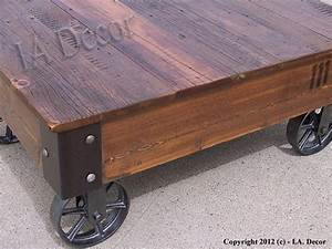 factory cart coffe table with wheels on corners With reclaimed wood coffee table on wheels