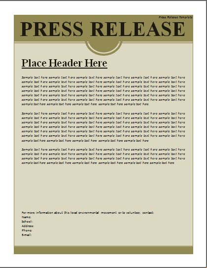 press release template excel word templates