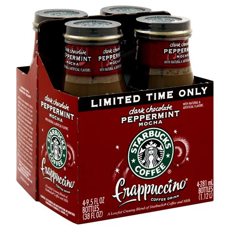 To inspire and nurture the human spirit — one person, one cup and one neighborhood at a time. Starbucks Coffee Frappuccino Coffee Drink, Dark Chocolate Peppermint Mocha, 4- 9.5 fl oz (281 ml ...