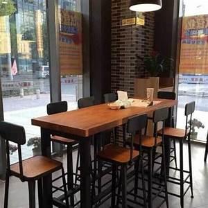 Buy American Iron Loft Wood Long Table Starbucks Tall Bar