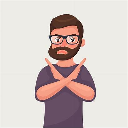 Cartoon Gesture Stop Illustration Vector Sign Shows