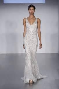 sheath wedding dresses lazaro fall 2015 sheath beaded wedding dress with a v neckline recent bridal 2015 2016