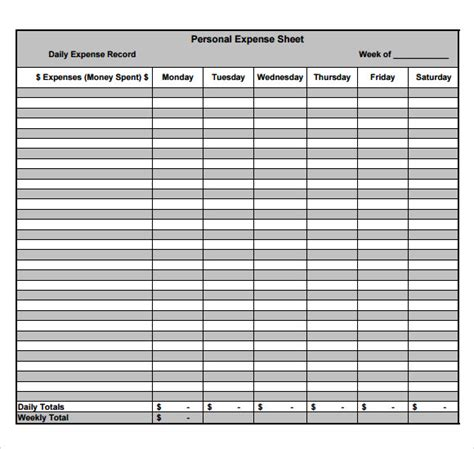 sample expense sheet  documents   word
