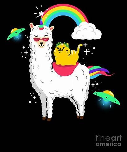 Unicorn Cat Lama Llamacorn Alpaca Funny Teequeen2603