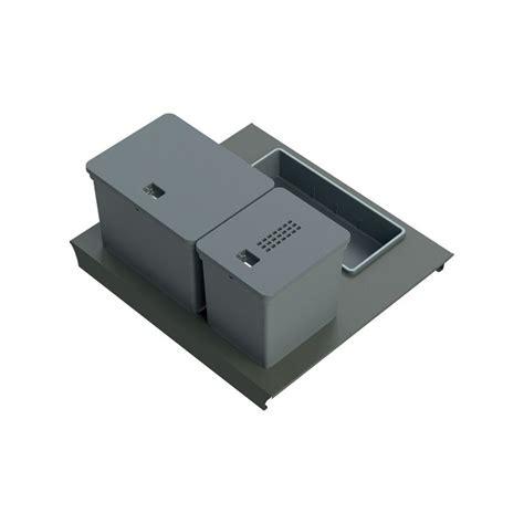 tiroir poubelle cuisine kit poubelle de cuisine pour tiroir de 600 mm 2 bacs 20 l