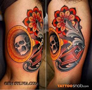 Vintage style multicolored gramophone tattoo on biceps ...